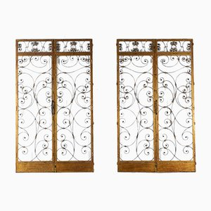 Spanish Wrought Iron and Gilt Metal Doors, 1960s, Set of 2