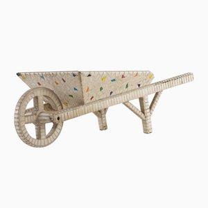 Fioriera con mosaico a forma di carriola, anni '60