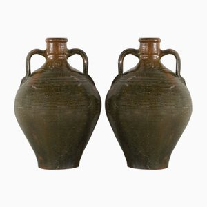 19th Century Green Glazed Water Vessels, Set of 2