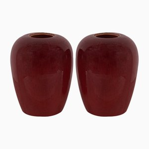 Glazed Red Vases, 1960s, Set of 2