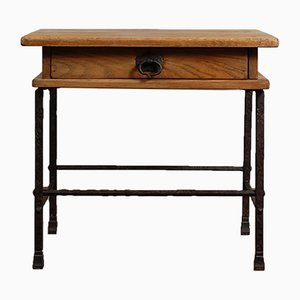 Mid-Century Wrought Iron and Oak Side Table by Gilbert Poillerat, 1950s