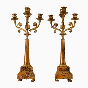 Late 19th Century French Sienna Marble and Gilded Bronze Candelabras, Set of 2