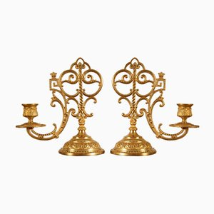 19th Century French Gothic Revival Church Altar Candlestick Holders, Set of 2