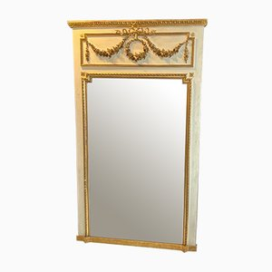 Large Antique French Painted & Gilded Beveled Mirror, 1890s