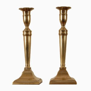 Antique George III Era English Bronze-Cast Candleholders, Set of 2