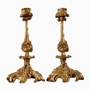 Antique French Rococo Revival Ormolu Bronze Candleholders by Francois Linke, Set of 2