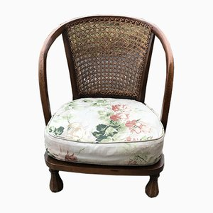 Vintage Floral Fabric and Wood Armchair, 1950s