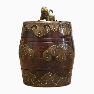 Small Antique Chinese Mahogany & Brass Spice Jar