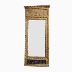 Gustavian Mirror with Gouache Motif, 1780s
