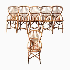Mid-Century Rattan Dining Chairs by Adrien Audoux & Frida Minet for Audoux Minet, Set of 6