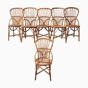Mid-Century Rattan Esszimmerstühle von Adrien Audoux & Frida Minet für Audoux Minet, 6er Set