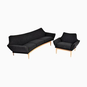Mid-Century Modern Swedish Oak Curver Sofa & Armchair by Johannes Andersen for AB Trensums Fåtöljfabrik, Set of 2
