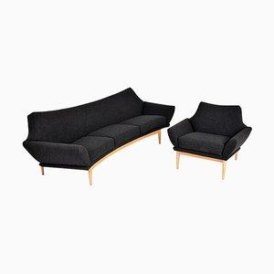 Mid-Century Modern Swedish Oak Curver Sofa & Armchair by Johannes Andersen for AB Trensums Fåtöljfabrik, Set of 2