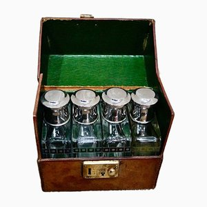 Antique Travel Cologne Bottles in Leather Case, Set of 4