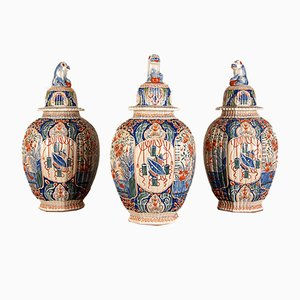 Antique French Delftware Pottery Tin Glazed Vases & Covers by Edme Samson, Set of 3