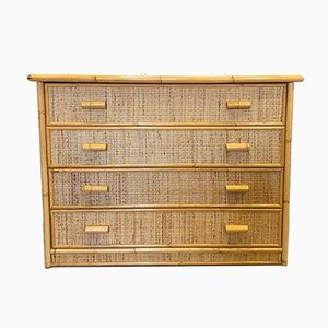 Vintage Bamboo and Rattan Chest of Drawers, 1970s