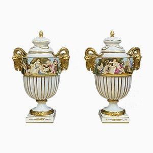 Large Porcelain Cassolettes with Putti Decoration, 1950s, Set of 2