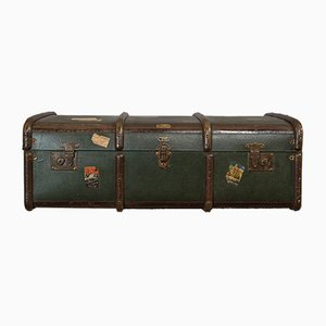 Large Antique English Steamer Travel Trunk