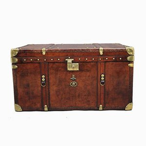 Large Leather Bound Ex Army Trunk, 1930s