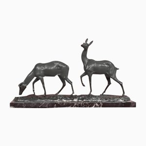 Art Deco Bronze 2 Fawns Sculpture by Irénée Rochard, 1940s