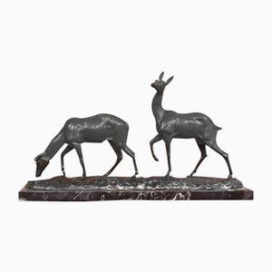 Art Deco Bronze 2 Fawns Sculpture by Irénée Rochard, 1940s