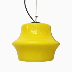 Mid-Century Modern Italian Lemon Yellow Glass Ceiling Lamp, 1960s