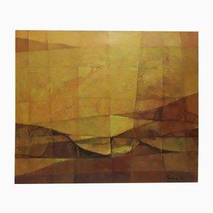 Pintura al óleo vintage sobre lienzo, 1985