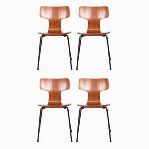Model 3103 Dining Chairs by Arne Jacobsen for Fritz Hansen, 1970s, Set of 4