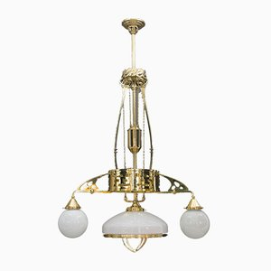 Antique Art Nouveau Adjustable Chandelier with Opal Glass, Vienna, 1910s