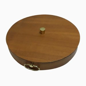 Vintage Lidded Sexing Box in Teak with Brass Handles, 1970s