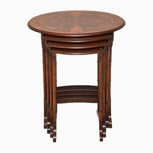 Antique Burr Walnut Nesting Tables, Set of 4