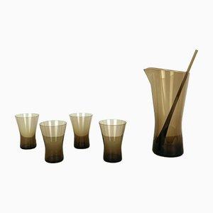 German Smoked Glass Juice Set by Heinrich Löffelhardt for Vereinigte Farben Glaswerke Zwiesel, 1960s, Set of 6
