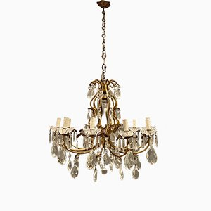 Large Vintage Crystal Bronze Chandelier, 1950s