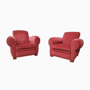 Raspberry Fabric Club Chairs, 1940s, Set of 2
