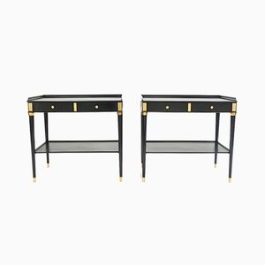 Brass & Wood Side Tables from Maison Jansen, 1950s, Set of 2