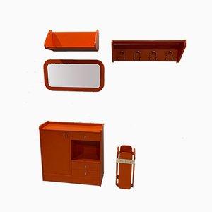 Orangefarbene Wohnzimmergarnitur von Meblo, 1970er, 5er Set