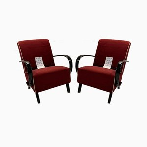 Red Armchairs by Jindřich Halabala, 1960s, Set of 2