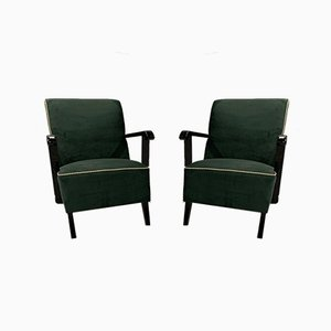 Green Armchairs by Jindřich Halabala, 1960s, Set of 2