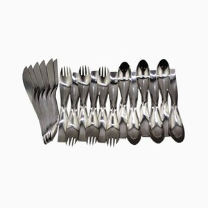 Model Danube 7000 Cutlery by Janos Megyik for Amboss, 1970s, Set of 18