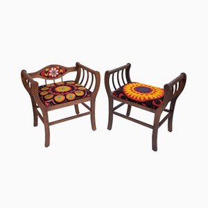 Suzani Fabric Marquis Benches, Set of 2