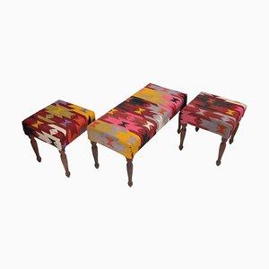 Vintage Turkish Anatolian Upholstered Kilim Bench and Stools, Set of 3