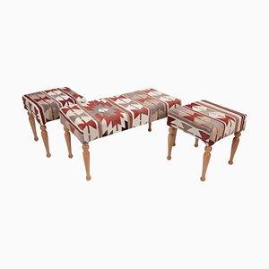 Vintage Turkish Upholstered Kilim Bench and Stools, Set of 3
