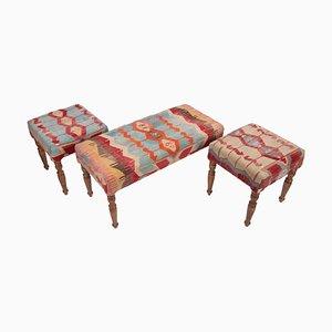 Panca e sgabelli Kilim vintage, Turchia, set di 3