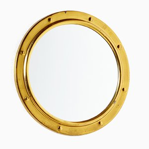 Vintage Golden Framed Round Mirror, 1960s