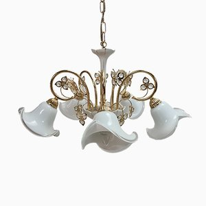 24K Gold-Plated Brass Chandelier with Murano Glass Shades by B.C. San Michele, 1980s