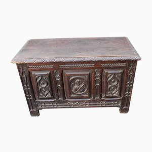 Dark Carved Oak Breton Coffer, 1900s