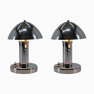 Bauhaus Chrome Adjustable Table Lamps, 1930s, Set of 2