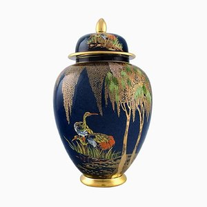 Large Lidded Jar in Hand-Painted Porcelain from Carlton Ware, England, 1950s