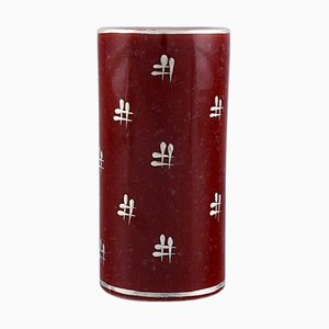 Art Deco Red Cylindrical Argenta Vase by Wilhelm Kåge for Gustavsberg, 1930s