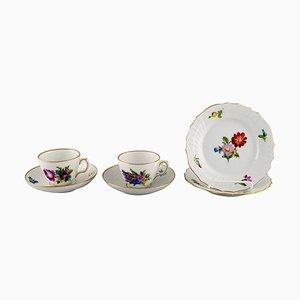 Royal Copenhagen Sachse Blumen Kaffeetassen mit Untertassen und Teller, 6er Set